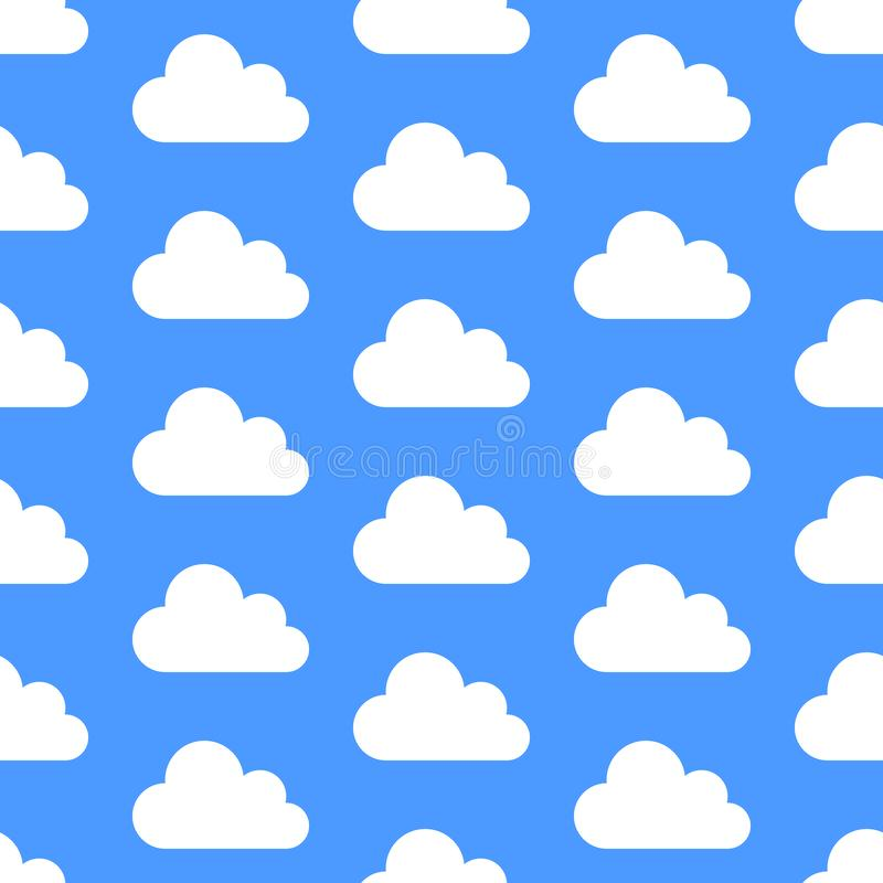 Cloud data storage seamless pattern with icons. Blue background with white clouds vector illustrations vector illustration