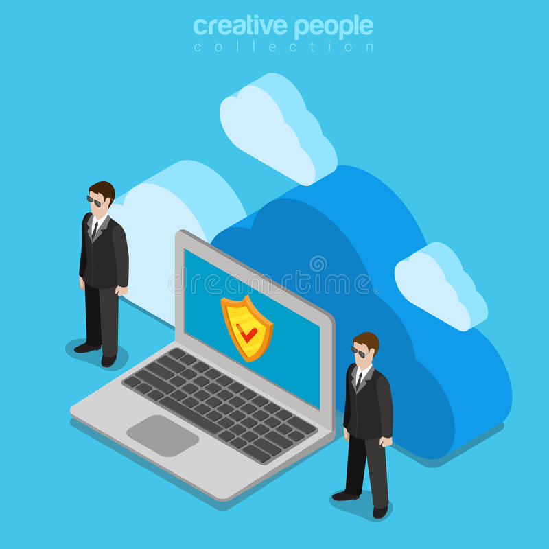 Cloud data storage security safety service flat isometric vector royalty free illustration