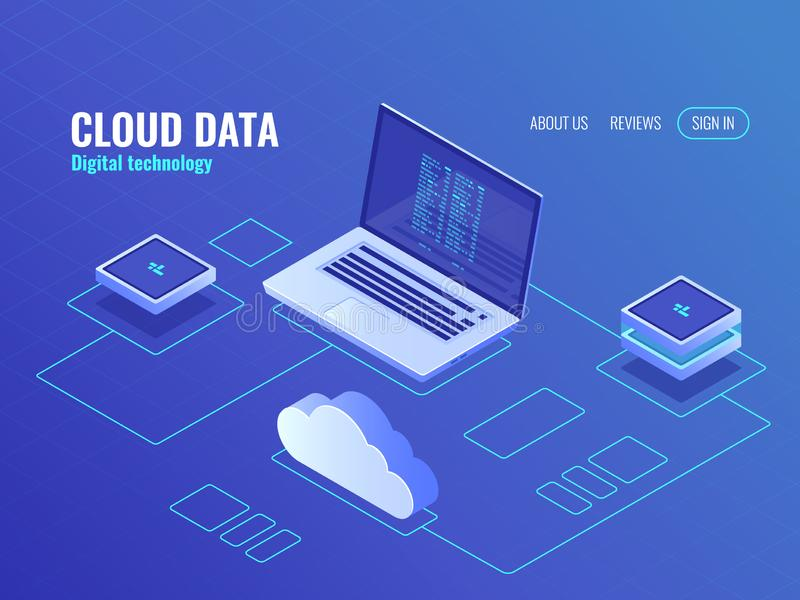 Cloud data storage services, server room isometric icon, laptop with program code on screen, secure data transfer royalty free illustration