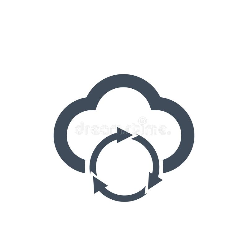 Cloud data sync refresh icon for apps and websites, vector illustration. royalty free illustration