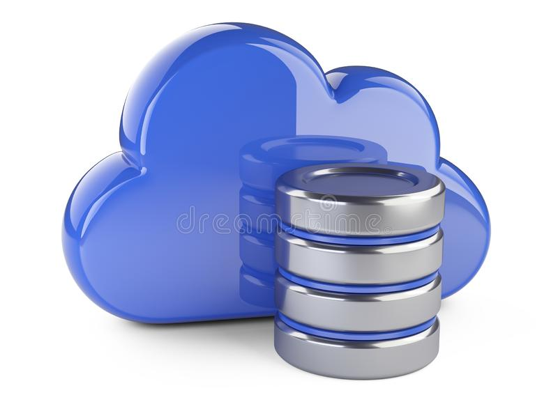 Cloud with database symbol. Computing and storage concept. royalty free illustration