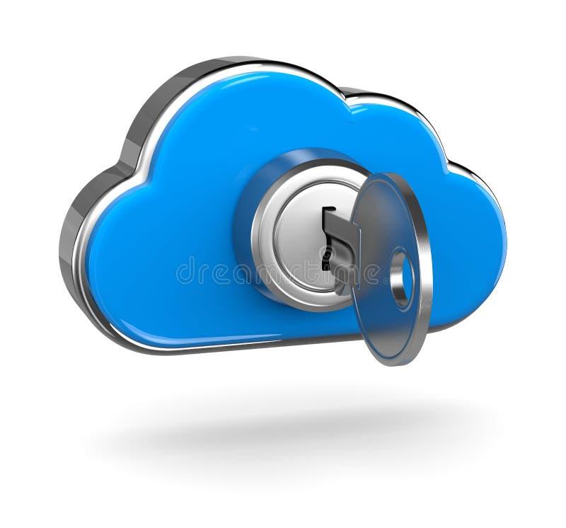 cloud det beräknande begreppet som ger handen key säker säkerhet stock illustrationer