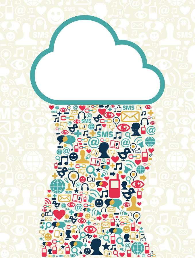 cloud det beräknande medelnätverkssamkvämet stock illustrationer