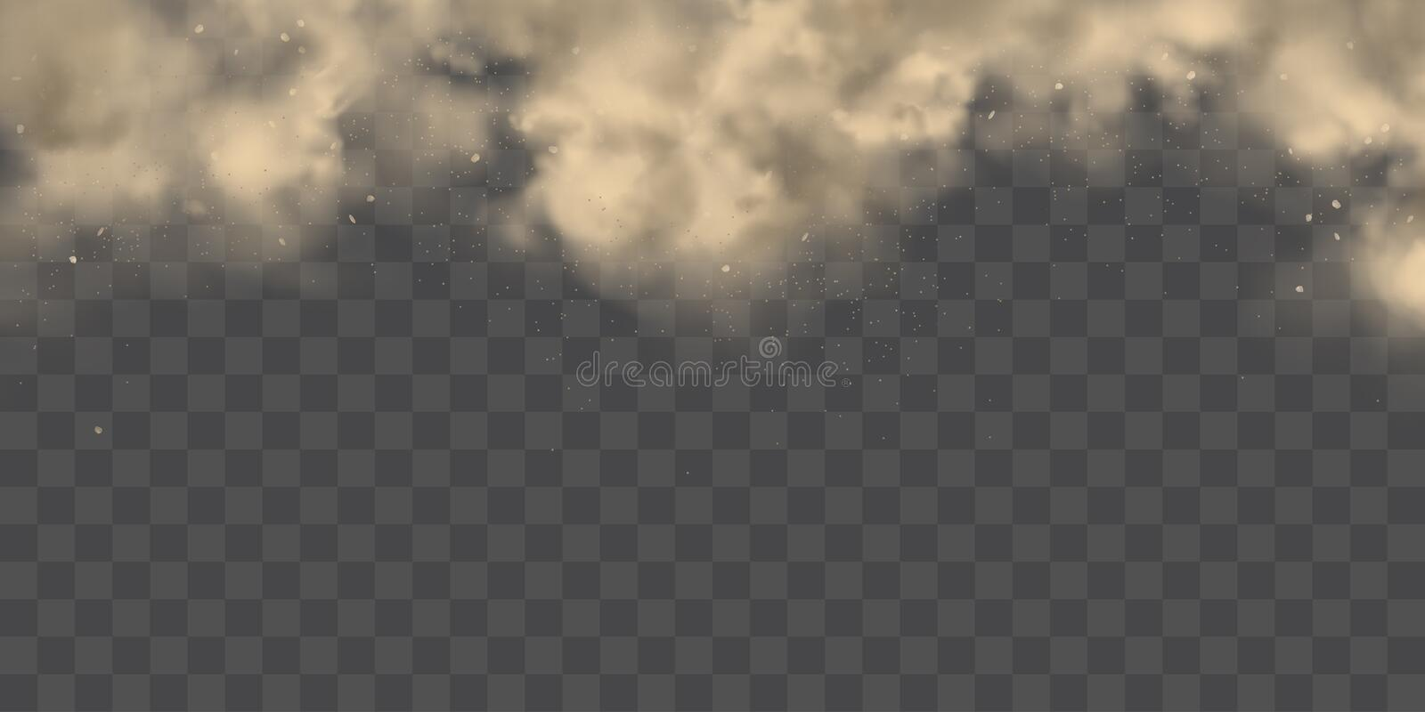Heavy dust cloud realistic vector background. Cloud of dirty smog, brown smoke, heavy thick dust with motes, sand, soil particles isolated 3d realistic vector stock illustration