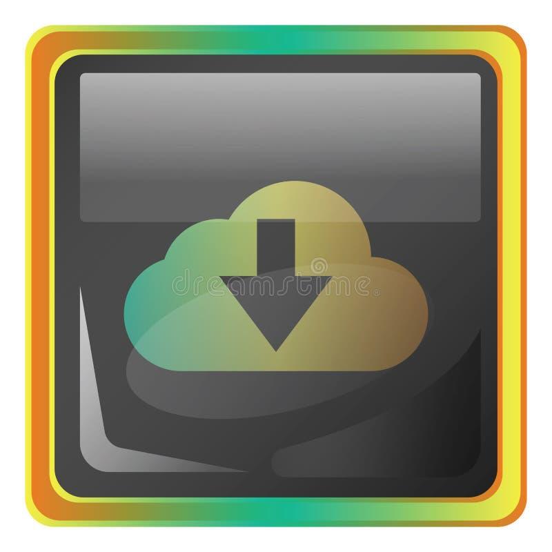 Cloud download grijze vierkant vectorikoon illustratie met gele en groene details royalty-vrije illustratie