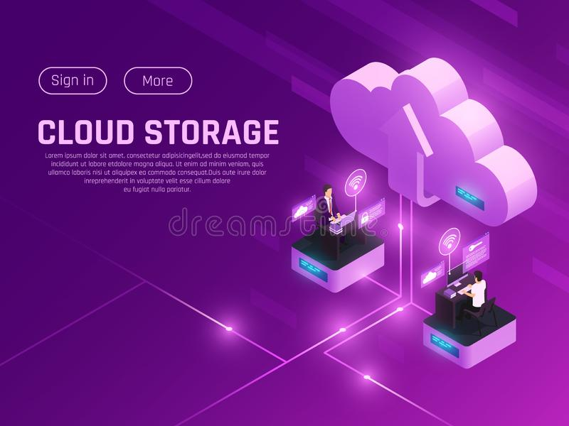 Cloud Drive Landing Page royalty free illustration