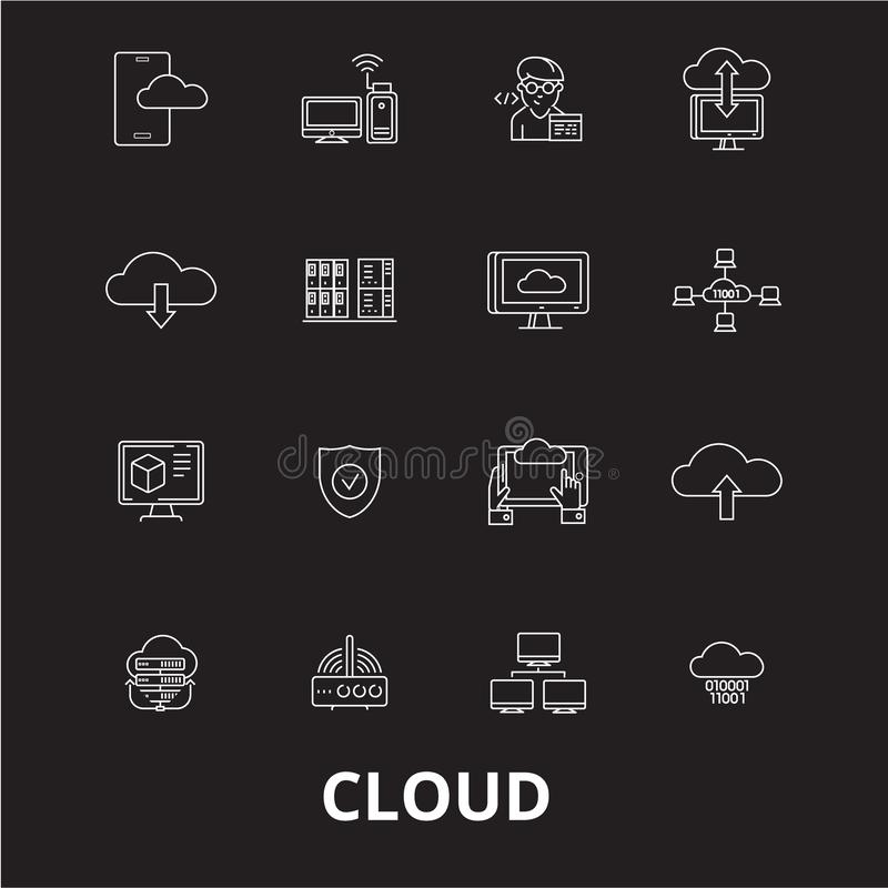 Cloud editable line icons vector set on black background. Cloud white outline illustrations, signs, symbols stock illustration