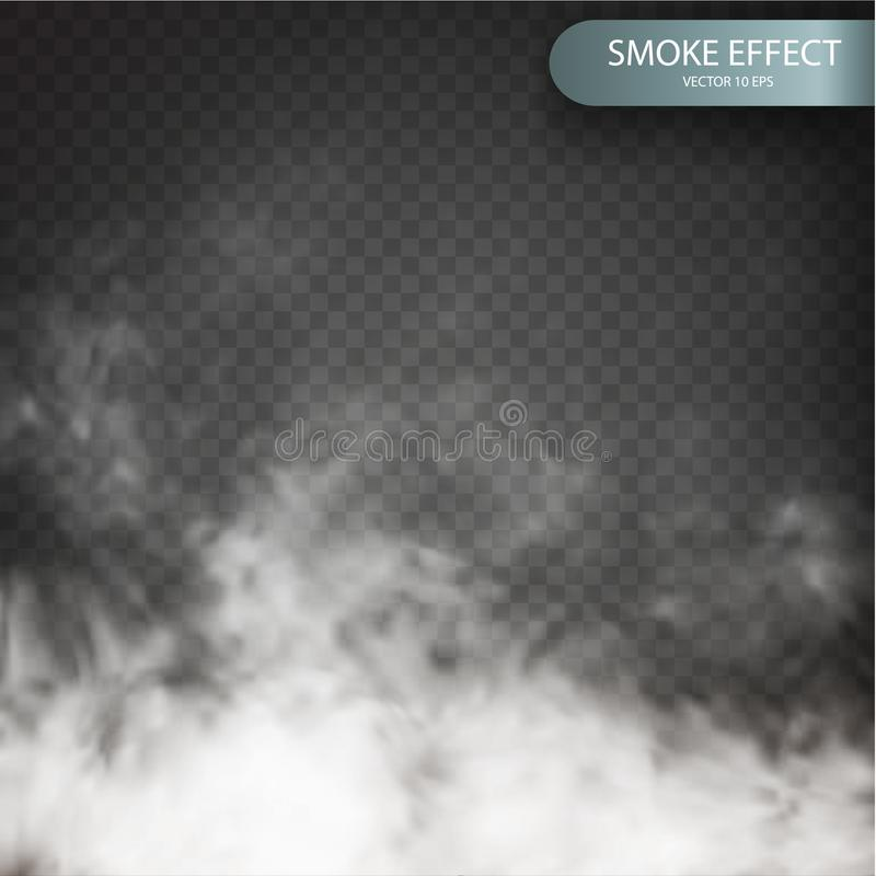 Cloud effect on a transparent vector background realistic. Cloud vector. Fog or smoke transparent special stock illustration