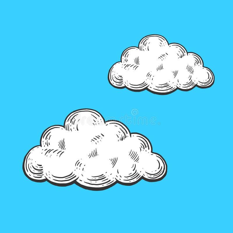 Cloud engraving style vector illustration. Cartoon clouds engraving vector illustration. Scratch board style imitation. Hand drawn image stock illustration