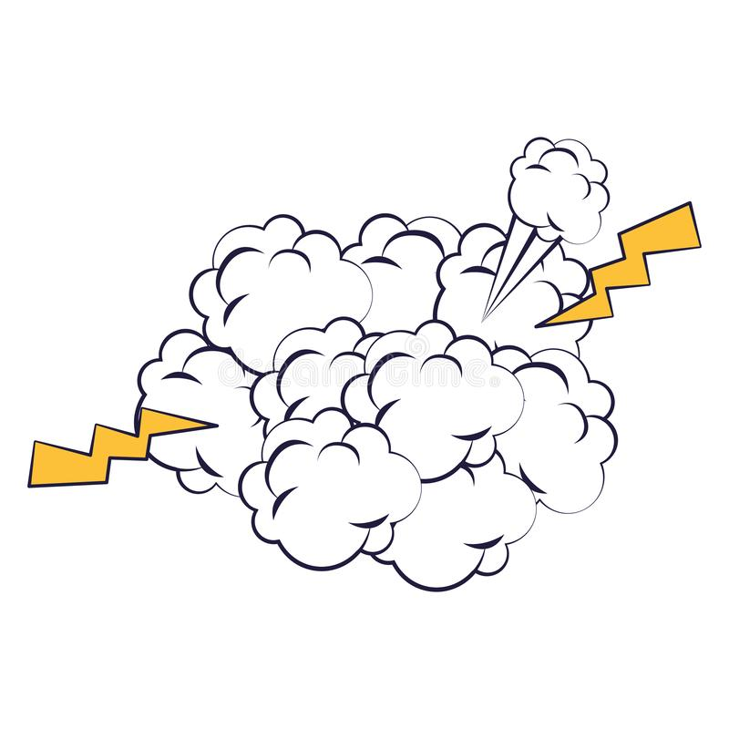 Cloud expression with power rays pop art style vector illustration