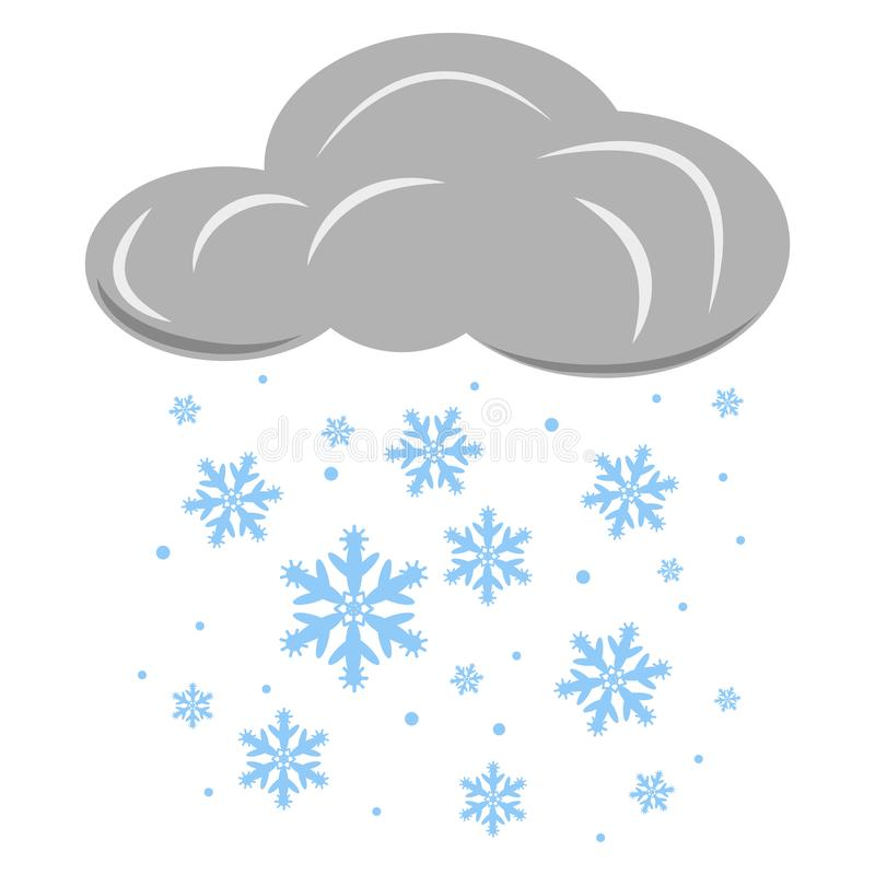 Cloud with falling snowflakes. Vector illustration isolated on light background. stock illustration
