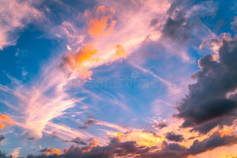 Cloud Filled Sunset. A fantastic cloud filled sunset over my Apartment building in west central Florida royalty free stock image