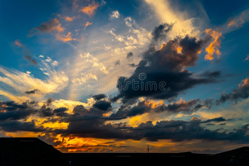 Cloud Filled Sunset. A fantastic cloud filled sunset over my Apartment building in west central Florida royalty free stock photo