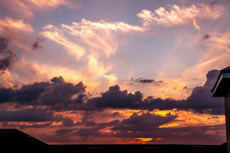Cloud Filled Sunset. A fantastic cloud filled sunset over my Apartment building in west central Florida stock photos