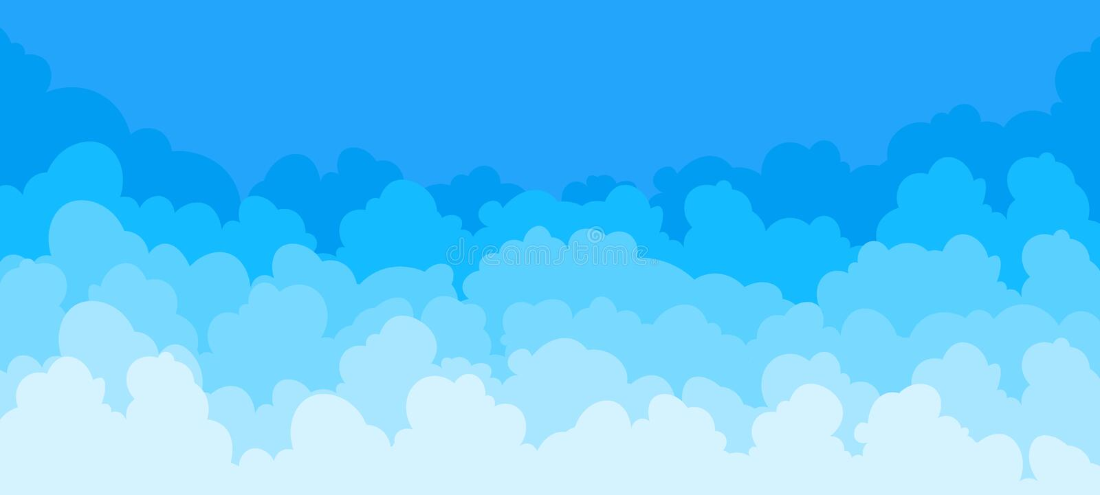 Cloud flat background. Cartoon blue sky pattern abstract cloudy frame summer poster scene. Vector clouds graphic. Cloud flat background. Cartoon blue sky pattern vector illustration