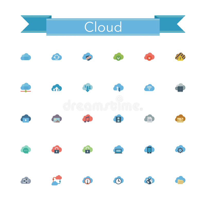 Download Cloud Flat Icons stock vector. Illustration of digital - 60752731