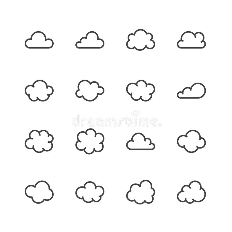 Cloud flat line icons. Clouds symbols for data storage, weather forecast. Thin signs for hosting. Pixel perfect 48x48 vector illustration