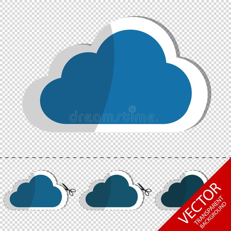 Cloud Flat Sticker Icon With Scissor And Cut Line - Vector Illustration - Isolated On Transparent Background royalty free illustration