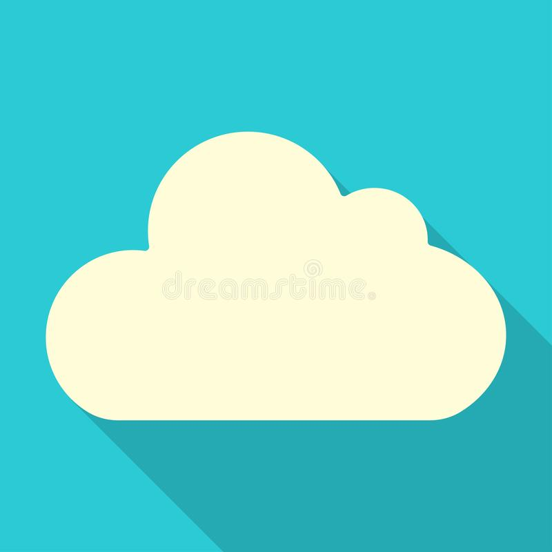 Cloud in flat style with shadow. Illustration on blue background. Icon, climate, forecast, meteorology, weather, design, simple, cloudy, nature, season, sky stock illustration