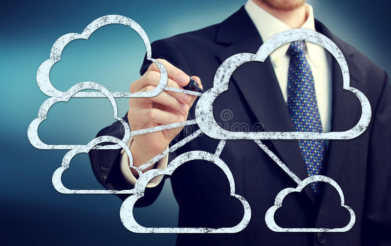 Cloud flow chart with businessman. On blue background royalty free stock image