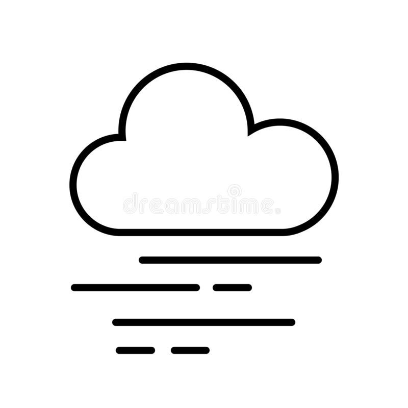 Cloud and Fog Icon Vector. This vector image shows a cloud and fog in outline icon design. It is isolated on a white background royalty free illustration