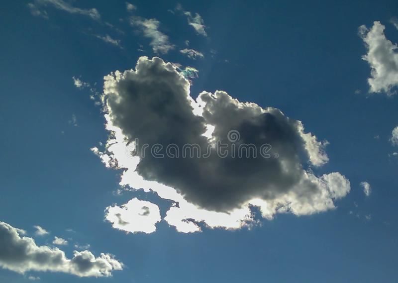 A cloud in the form of a heart. A figure from the clouds in the sky. Beautiful sky. Love. Valentine`s Day. Lovers stock photo