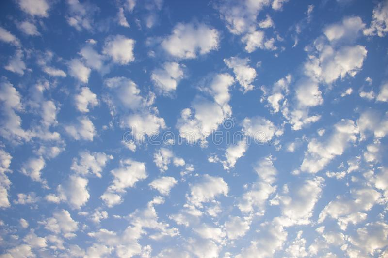 Cloud formation in the blue sky. Beautiful cloud formation phenomenon in the blue sky stock photography