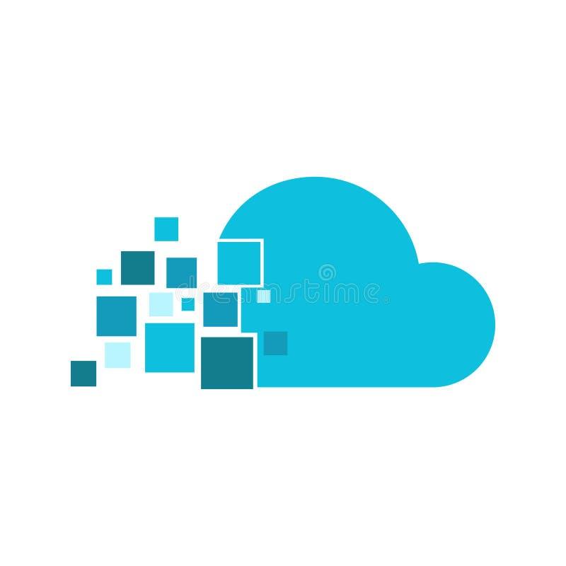 Cloud Fragment Technology Logo Vector Graphic Design. Cloud Fragment Technology Logo Vector Illustration Graphic Design stock illustration