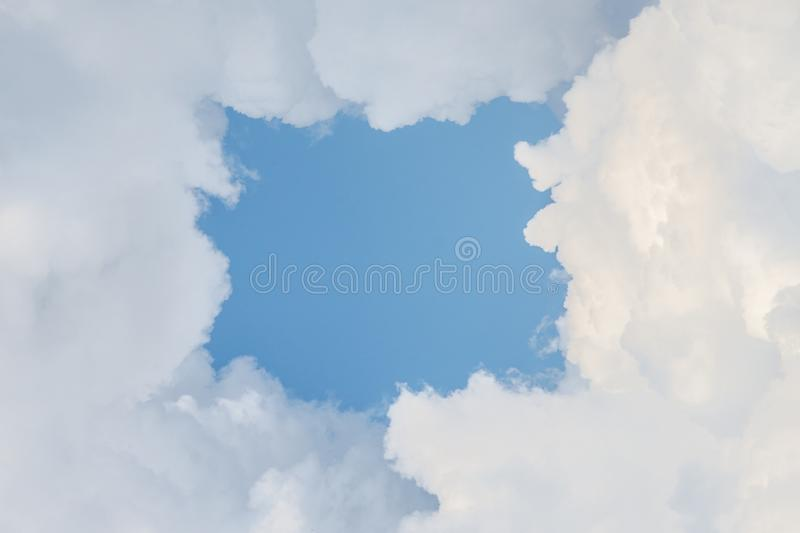 Cloud frame with blue sky. Entrance to the sky royalty free illustration