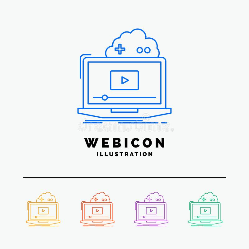 Cloud, game, online, streaming, video 5 Color Line Web Icon Template isolated on white. Vector illustration royalty free illustration