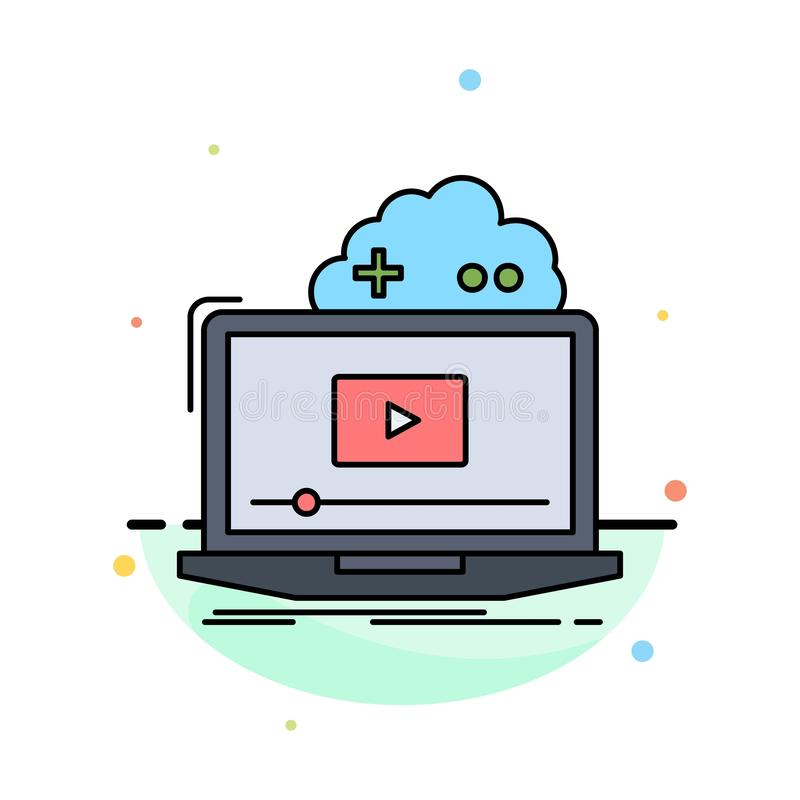 Cloud, game, online, streaming, video Flat Color Icon Vector stock illustration