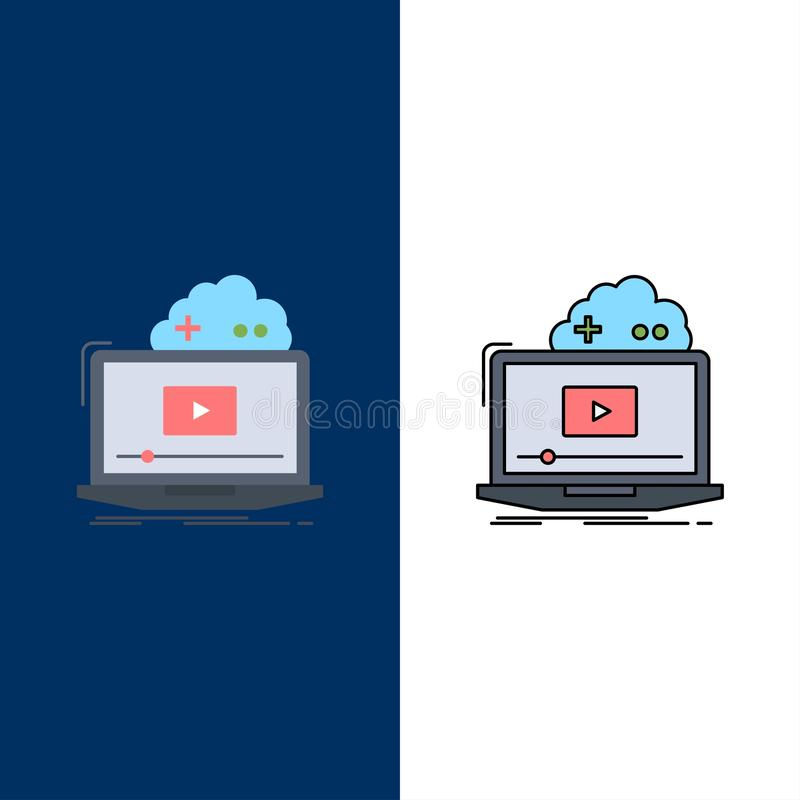Cloud, game, online, streaming, video Flat Color Icon Vector royalty free illustration