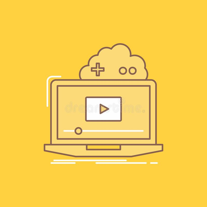 Cloud, game, online, streaming, video Flat Line Filled Icon. Beautiful Logo button over yellow background for UI and UX, website stock illustration