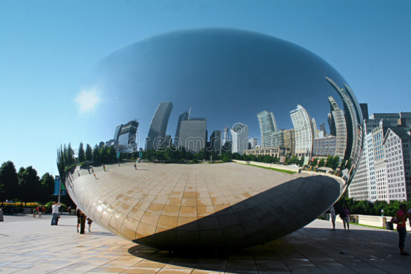 Cloud Gate. Is a public sculpture by British artist Anish Kapoor in Millennium Park within the Loop community area of Chicago, Illinois, United States. It is stock images