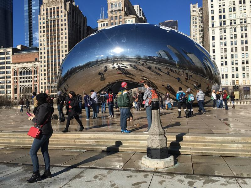 """Cloud Gate The Bean"""" in Millenium Park, Chicago, IL royalty free stock image"""