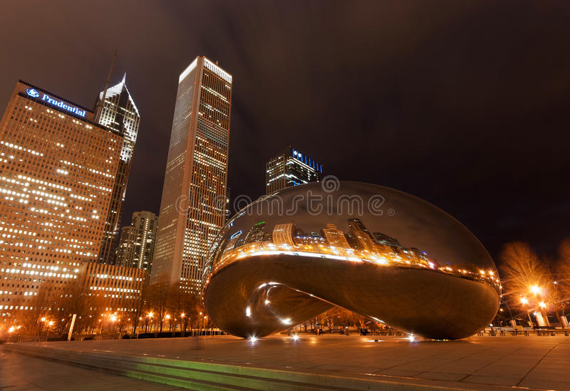 Cloud Gate at night, Chicago royalty free stock photography