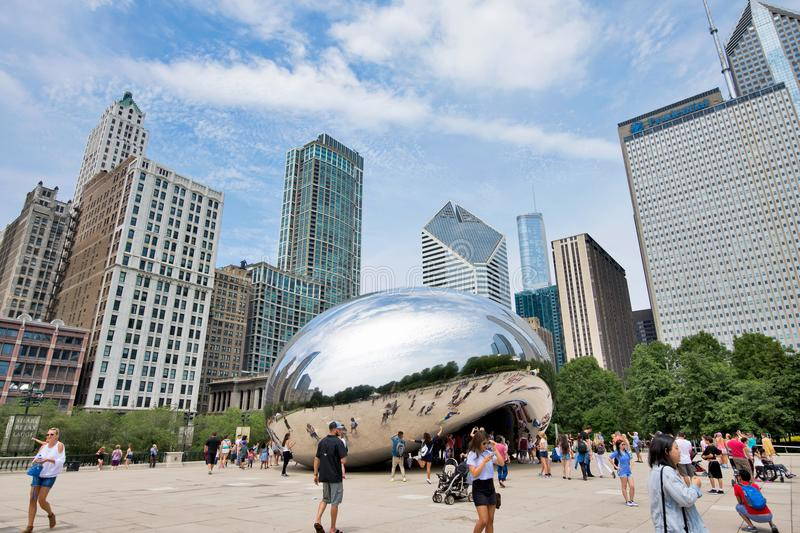 The Cloud Gate Statue in Millennium Park in Downtown Chicago, Il stock photo