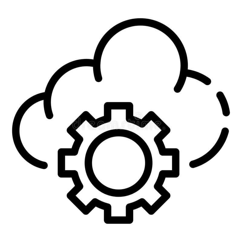 Cloud gear icon, outline style stock illustration