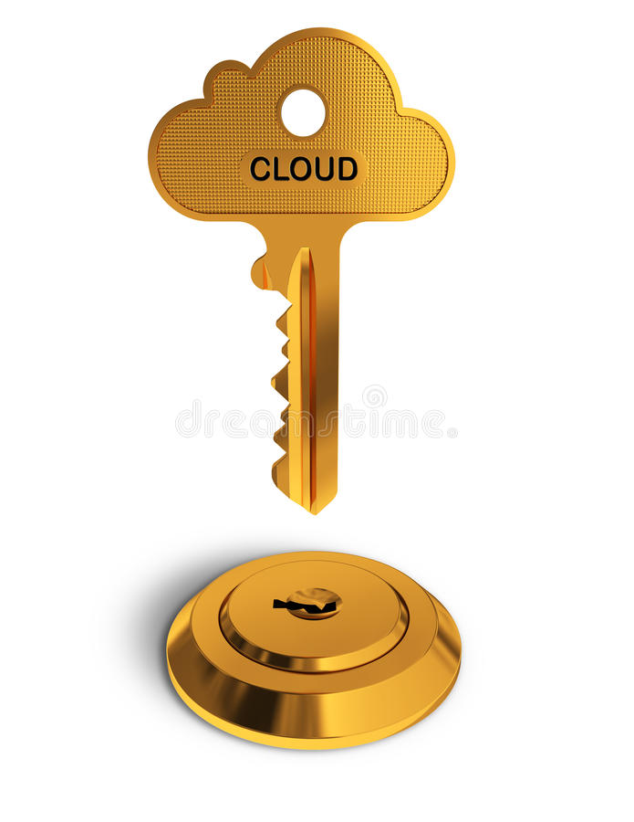 Cloud gold key stock illustration