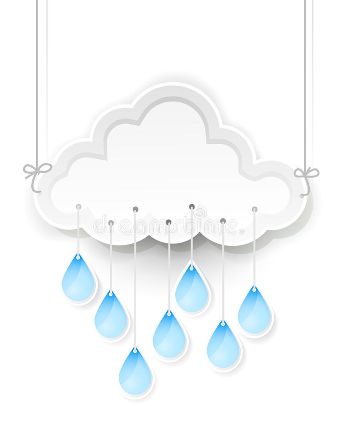 Cloud and hanging rain drops. White cloud and hanging rain drops royalty free illustration