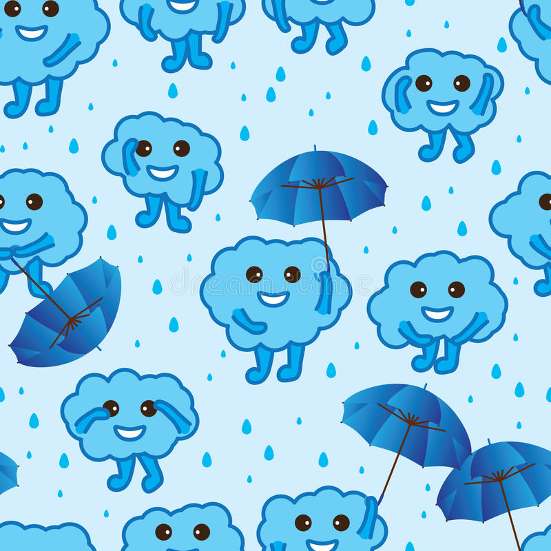 Cloud Happy Cute Blue Seamless Pattern Stock Vector
