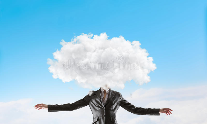 Cloud headed woman . Mixed media royalty free stock image