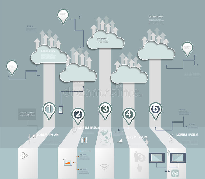 Cloud Hosting.Cloud Computing concept with Icon,social network group royalty free illustration