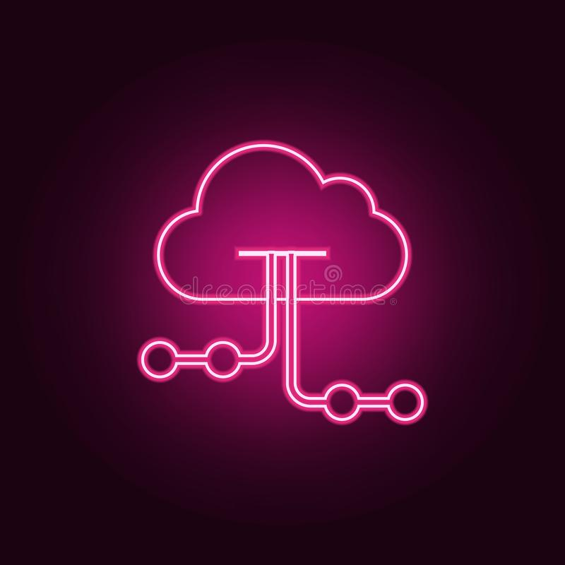 Cloud hosting icon. Elements of Web Development in neon style icons. Simple icon for websites, web design, mobile app, info. Graphics on dark gradient stock illustration