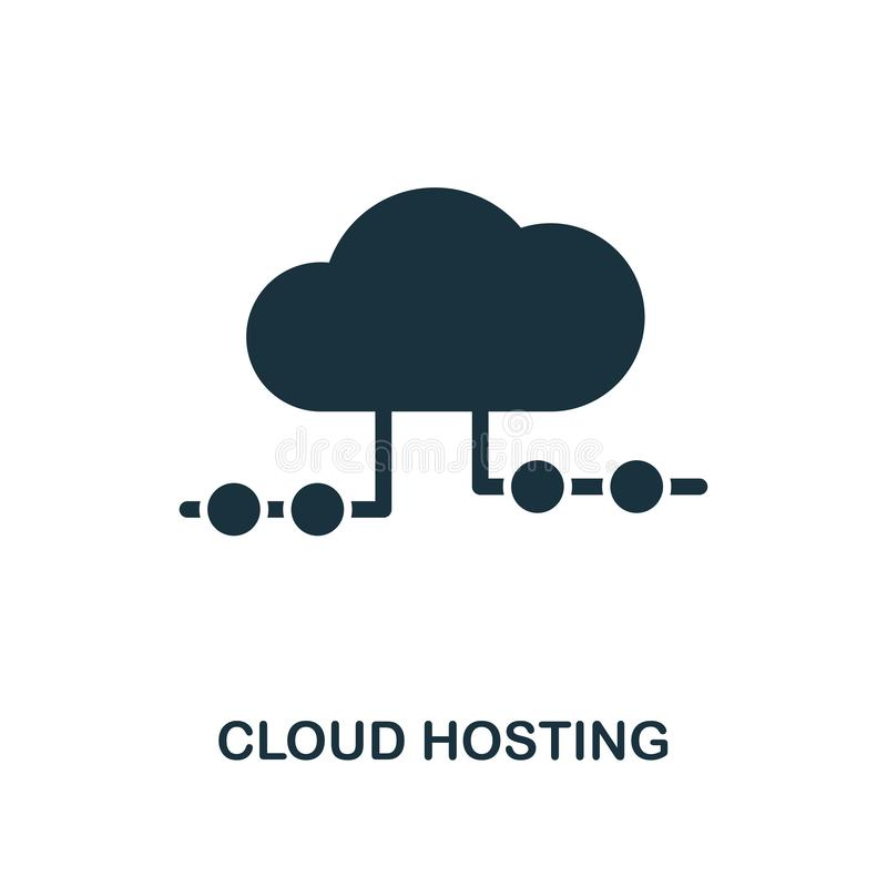 Cloud Hosting icon. Monochrome style design from big data icon collection. UI. Pixel perfect simple pictogram cloud hosting icon. royalty free illustration