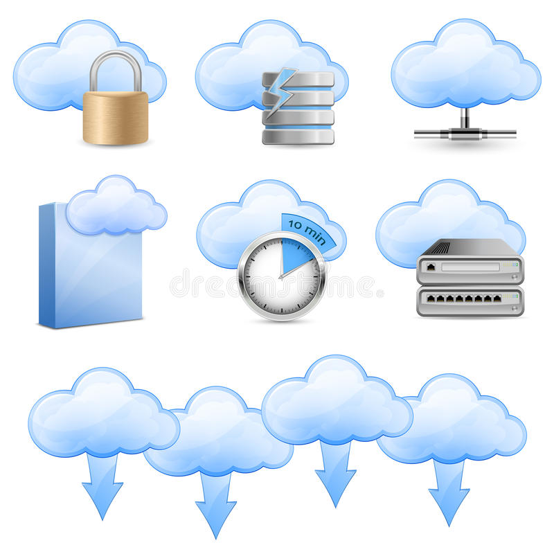 Free Cloud Hosting Icons Stock Photography - 19582952