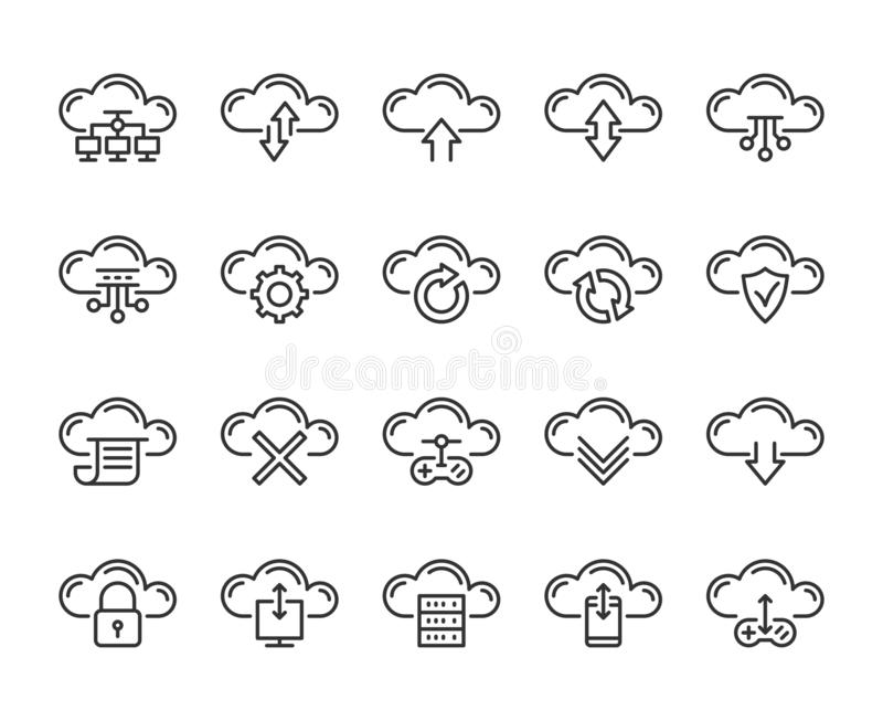 Cloud icon. Cloud computing technology line icons set. Editable stroke, 64x64 Pixel perfect vector illustration