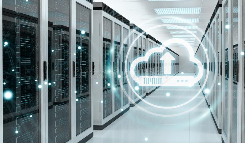 Cloud icon downloading datas in server room center 3D rendering. Cloud icon downloading datas and informtations in server room center interior 3D rendering stock illustration
