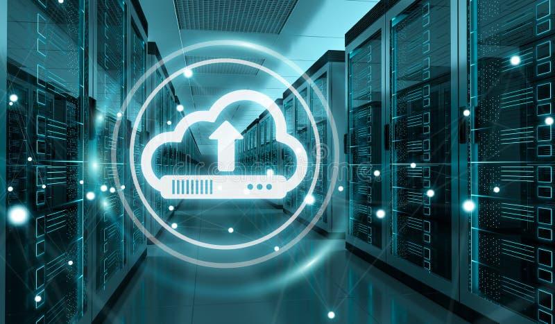 Cloud icon downloading datas in server room center 3D rendering stock illustration