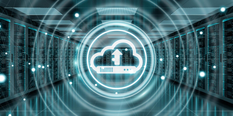 Cloud icon downloading datas in server room center 3D rendering vector illustration